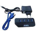 HUB ext USB 3.0 Lapara LA-USB304A black, 4 порта с БП 2А
