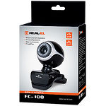 WEB-камера REAL-EL FC-100 Black, 1.3Mp dinamic/0.35Mp CMOS, USB, микрофон