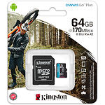 microSD XC 64Gb Kingston Canvas Go! Plus U3 A2 V30 C10 (с переходником на SD, SDCG3/64GB) R170/W70