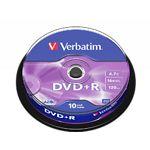 DVD+R Verbatim 4,7Gb 16x Cake 10 pcs Matt Silver (43498)