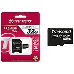 microSD HC 32GB Transcend Сlass 10 (с переходником на полный SD, TS32GUSDHC10)
