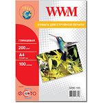 Фотобумага WWM глянцевая, 200г/м2, А4, 100л (G200.100)