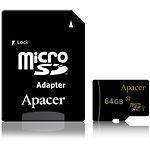 microSD XC 64Gb Apacer Class10 UHS-I (c переходником на SD, AP64GMCSX10U1-R)