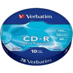 CD-R Verbatim 700Mb 52x Shrink 10 pcs Extra Protection (43725)