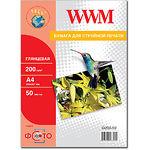 Фотобумага WWM глянцевая, 200г/м2, А4, 50л (G200.50)