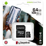 microSD XC 64Gb Kingston Canvas Select Plus А1 Class10 UHS-I (с переходником, SDCS2/64GB)