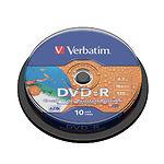 DVD-R Verbatim 4,7Gb 16x Cake 10 pcs Water Resistant Glossy Printable цена за шт. (43763)