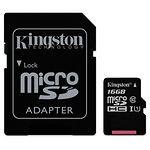 microSD HC 16Gb KINGSTON Canvas Select UHS-I Class10 (с переходником на полный SD, SDCS/16GB)