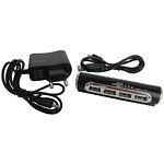 HUB ext USB 2.0 Lapara LA-USB22-ALU black, 4 порта с БП 0,5 А, алюминий черный с серебром