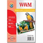 Фотобумага WWM глянцевая, 150 г/м2, 100х150 мм, 100л (G150.F100)