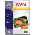 Фотобумага WWM матовая, 230г/м2, A4, 50л (M230.50)