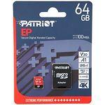 microSD XC 64GB Patriot EP UHS-I U3 Class10 V30 (c переходником SD, PEF64GEP31MCX) R/W 100/80MB/s