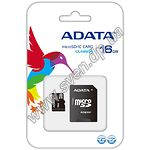 Карта памяти A-Data 16Gb microSDHC (AUSDH16GCL10-RA1/GUICL) UHS-I + SD adapter - фото