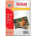 Фотобумага WWM глянцевая, 180г/м2, 100х150 мм , 20л (G180.F20)